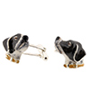 Offord & Sons | Saturno silver enamelled Pointer Dog Cufflinks