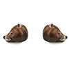 Offord & Sons Saturno silver enamelled Bear cufflinks GM133