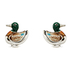 Offord & Sons Saturno silver enamelled Duck cufflinks GM151