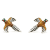 Offord & Sons Saturno silver enamelled pheasant in flight cufflinks GM149