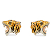 Offord & Sons Saturno silver enamelled Tiger cufflinks GM197