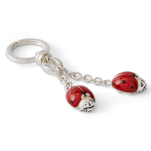 Offord & Sons | Saturno Silver Enamelled Ladybirds Key Ring