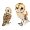 Offord & Sons | Saturno Silver Enamelled Barn Owls