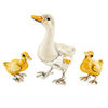 Offord & Sons | Saturno Silver Enamelled Goose with Goslings
