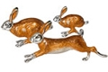 Offord & Sons   Saturno silver enamelled Hares
