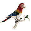 Offord & Sons | Saturno silver and enamelled Parrot on a branch