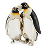 Offord & Sons | Saturno Silver Enamelled Loving Penguins Embracing