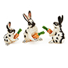Offord & Sons | Saturno Silver Enamelled Bunny Rabbits with carrots