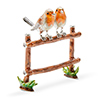 Offord & Sons | Saturno Silver enamelled Robins on fence