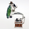 Offord & Sons | Saturno silver enamelled Gramophone with cat and mice