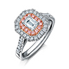Offord & Sons | Fancy Pink and White Diamond Halo Cluster RIng